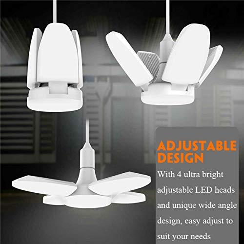 LED Garage Lights, LED Basement Lights, Tribright Garage Ceiling Lighting 6000LM, 60W E26 / E27 Daylight Lamps with 4 Adjustable Panels for Workshop, Workbench, Barn, Warehouse, Shop (1 Pack)