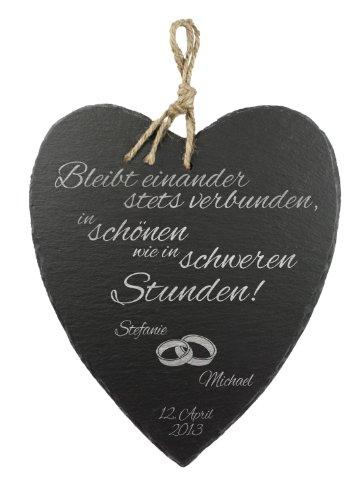 Casa Vivente Schieferherz mit Gravur zur Hochzeit, Motiv Eheringe, Personalisiert mit Namen und Datum, Hochzeitsgeschenke für Brautpaar