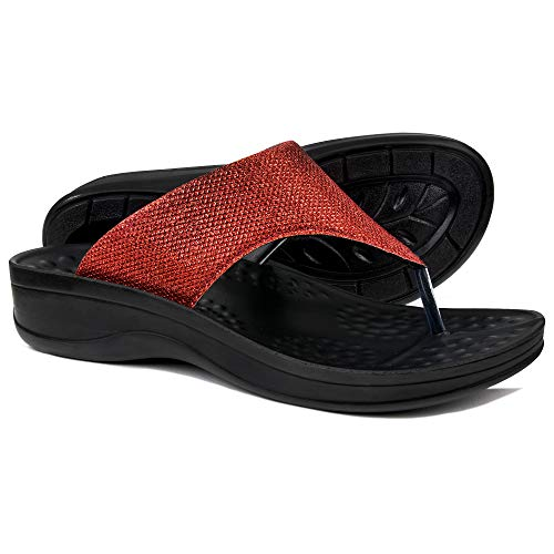 US Women 8, Matt Wine AEROTHOTIC Womens Comfortable Orthotic Flip-Flops Sandal