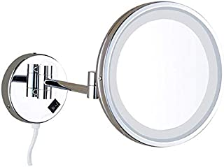 BMJ&C Bathroom Vanity Mirror 8.5 Inch LED Makeup Mirror Bathroom Shaving Mirror Folding Vanity Mirror 3X Magnifying Glass HD Mirror (Color : 02)