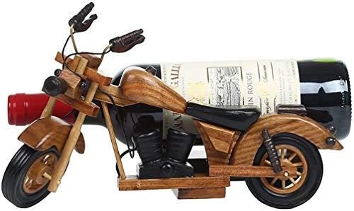 GLYYR Weinregal Rack Vintage Motorrad Weinregale Holz für Tabelle |Weinflaschenhalter |Rustikaler Weinhalter für Weinkühlerweinkabinett |Wine Shelf-Speicherorganisator |Weinstand