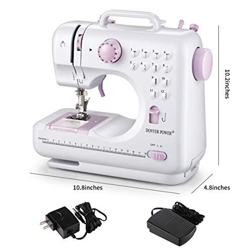 DONYER POWER Electric Sewing Machine Portable Mini with 12 Built-in Stitches, 2 Speeds Double Thread, Embroidery,Foot…