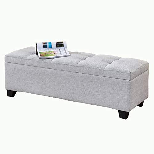 JQQJ opbergdoos met opbergruimte polyester weefsel-geheugen-ottoman bank speelgoedkist slaapkamer bank opslag voetenbank bankkruk