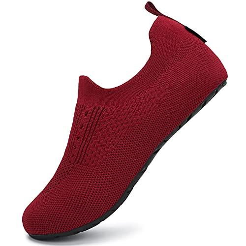 SAGUARO Hausschuhe Damen Herren Leichte hüttenschuhe rutschfest Home Cozy Slippers Flache Pantoffeln Rotwein 42/43 EU
