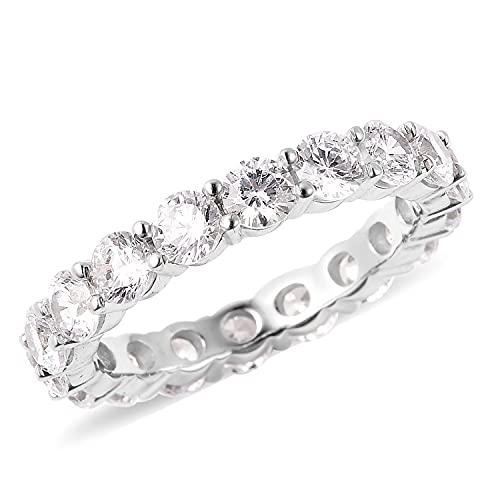 Shop LC LUSTRO Stella 925 Sterling Silver AAA Cubic Zirconia CZ Eternity Band Ring Engagement Wedding Anniversary Bridal Jewelry for Women Size 7 Ct 4.1