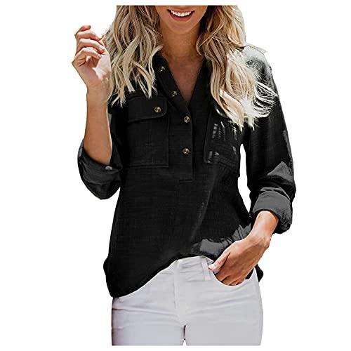 GANBADIE - Camiseta irregular para mujer, algodón, lino, cuello en V, manga larga, Negro , S