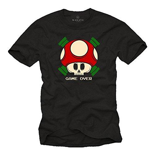 Old School Gamer T-Shirt - Game Over - Camiseta Friki Manga Corta - Super Heroes Level Up Mario Negro XXXL