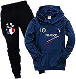Ambcol - Conjunto de deporte para chándal de fútbol de Francia con 2 estrellas para niño, sudadera con capucha y bolsillo azul 12 años