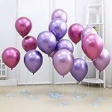 50 Stück Luftballons Metallic,Bunt Verchromte Helium Ballons 6 Metallischen Farben Metallfarbe Dekoration für Vintage Jugendweihe Junge Geburtstag JGA Party Deko (Gold Silber Blau Grün Rosa Lila) - 5