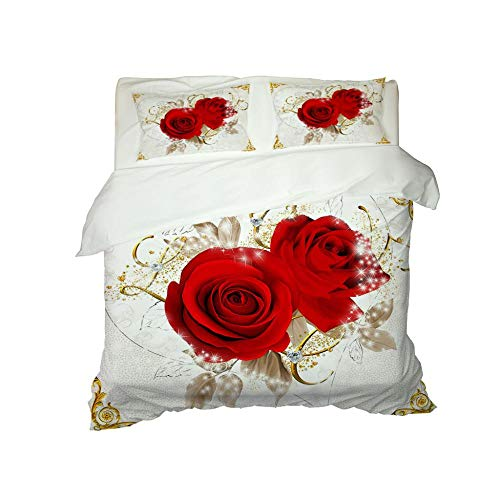Bettwäsche 135x200 Rote Rose Schmetterling 3D Bedruckte Bettwäsche Set 3-Teiliges Polyester mit Reißverschluss 1 Bettbezug und 2 Kissenbezug, Einzelbett