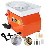 MAOPINER 350w Electric Pottery Wheel Machine 25cm Removable ABS Basin,Pottery Ceramic Clay Work Forming Machine with Adjustable Lever and Feet Lever Pedal (Orange)