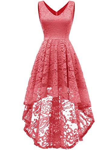 MuaDress 6666 Damen Kleid Ärmellose Cocktailkleider Knielang Abendkleider Elegant Spitzenkleid V-Ausschnitt Asymmetrisches Brautjungfernkleid Koralle L