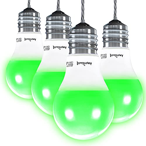 AmeriLuck 4-Pack Green Color A19 LED Light Bulbs, 60W Equivalent (7W), Waterproof for Outdoor Use