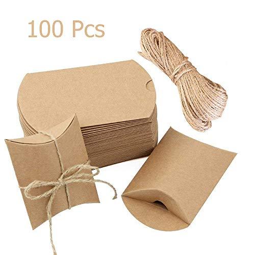 100 Piezas Cajas Almohadas Papel Kraft Vintage, Cajas Almohadas Marrones Cuerda cáñamo, Caja Favor Boda, Caja Joyas Papel Kraft Candy, decoración para la Fiesta cumpleaños cumpleaños