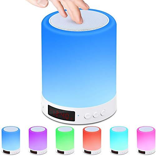 LED Nachttischlampe, Nachtlichttischlampe Bluetooth-Lautsprecher,Berührungssensor Nachtlicht Nachttischlampe mit Wecker, 7 Farbwechsel Dimmbaresmit für Frauen Männer Teenager Kinder