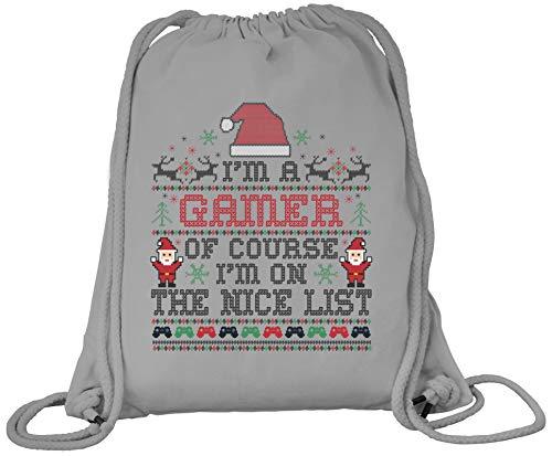 ShirtStreet Gamer Weihnachtsgeschenk Premium Bio Baumwoll Turnbeutel Rucksack Stanley Stella Gamer - Nice List, Größe: onesize,Heather Grey