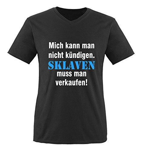 Comedy Shirts - Mich kann man nicht kündigen. Sklaven Herren V-Neck T-Shirt - Schwarz/Weiss-Blau Gr. L