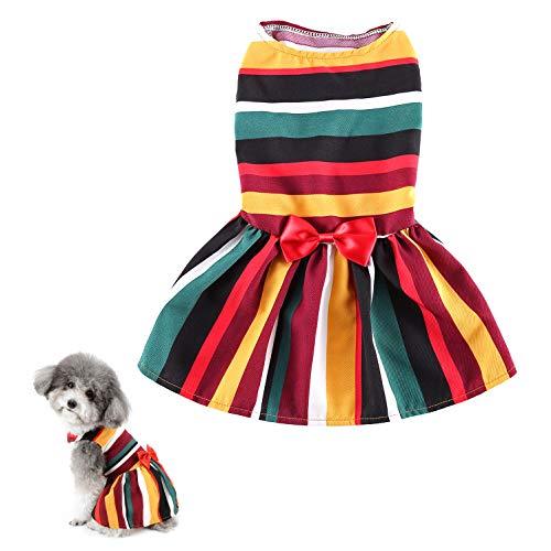 Ranphy Rainbow Pet Ropa para perro pequeo vestido nia cachorro princesa colorido chaleco camisa con lazo Chihuahua Yorkie vestido de verano vestido para fiesta de cumpleaos vestido de boda