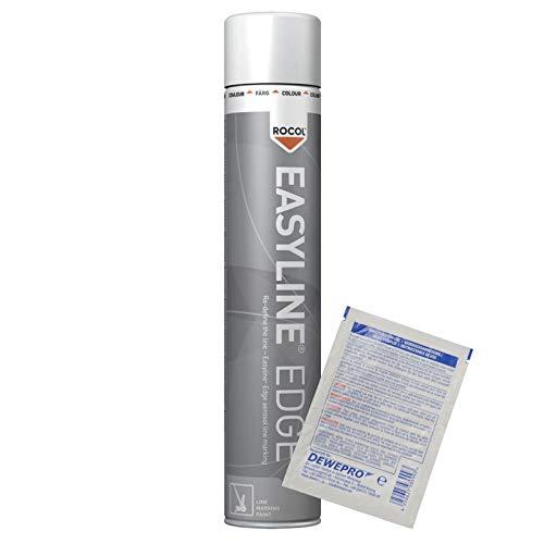 ROCOL Easyline® Edge Linienmarkierungsspray - Farbe: weiss (RAL 9016) - 750ml Spraydose - Linienmarkierung - Linienmarkierfarbe inkl. 1 St. DEWEPRO® SingleScrubs