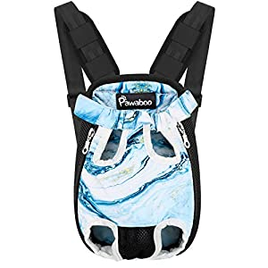 Pawaboo Pet Carrier Backpack, Adjustable Pet Front Cat Dog Carrier Backpack Travel Bag, Legs Out, Easy-Fit for Traveling Hiking Camping for Small Medium Dogs, Medium Size, Blue Marble