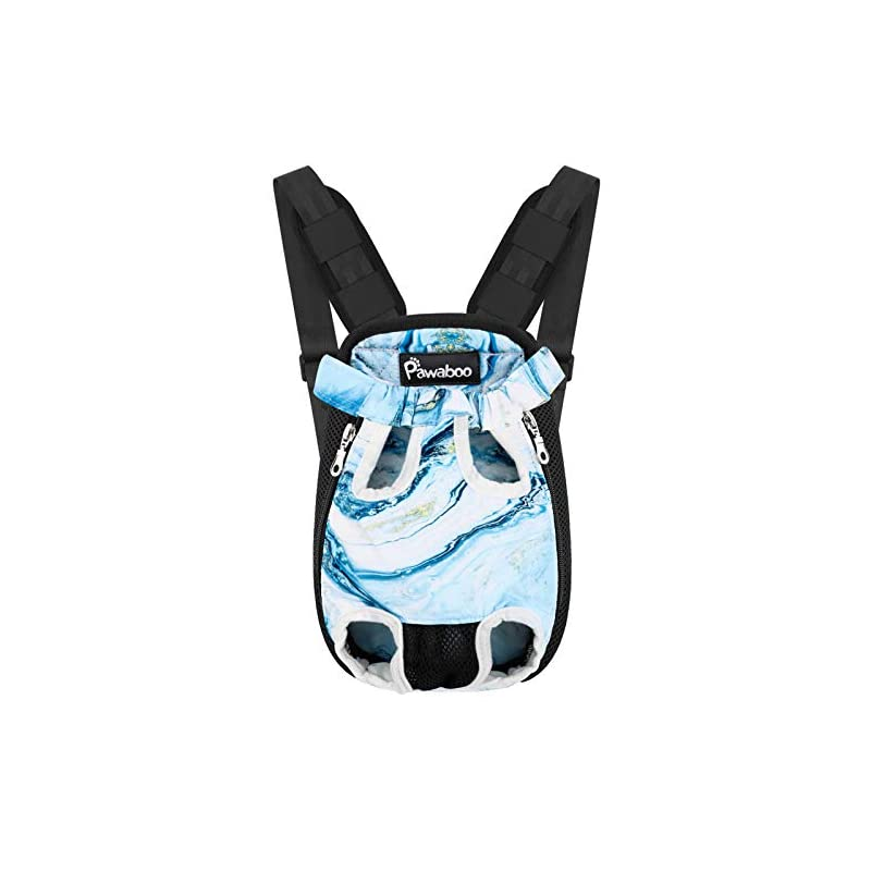 dog supplies online pawaboo pet carrier backpack, adjustable pet front cat dog carrier backpack travel bag, legs out, easy-fit for traveling hiking camping for small medium dogs, medium size, blue marble