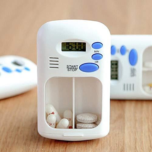 HOTEU Pastillero ElectróNico PortáTil Con Temporizador Recordatorio Inteligente Alarma 2 Compartimentos Dispensador AutomáTico De Pastillas AutomáTico Caja De Medicamentos