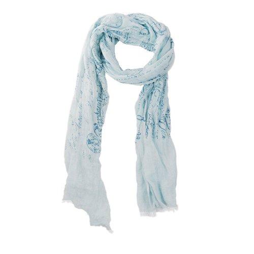 HINZE ( SH104 ) Echarpe en lin, couleur: bleu clair avec écritures, dimensions: 50 x 180 cm, écharpe luxueuse pour femmes et hommes, unisexe, aussi appropriée pour l'hiver que pour l'été
