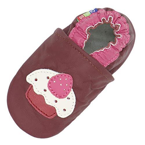 Carozoo Weiche Sohle Leder Baby Kinder Hallenschuhe Prewalker (16 Designs), Violett - Cupcake Purple - Größe: 4-5 Jahre