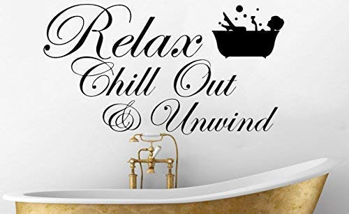 Relax Chill Out & Unwind und Sexy Dame in Bade mit Glas Weinglas / Prosecco Spruch Spruch Wörter - Badezimmer Nass Zimmer Duschbad Wanddekoration Aufkleber Bild