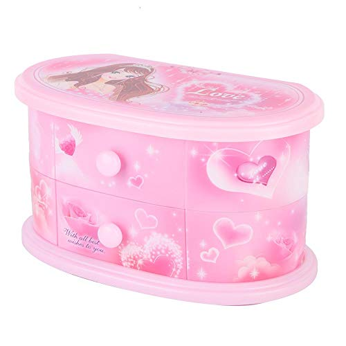 Joyero Musical, Caja de música de Bailarina Personalizada Caja de Almacenamiento de Joyas Caja de música, Regalo de cumpleaños en Forma de corazón para niñas (Pink)