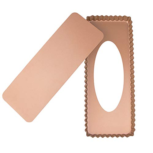 Webake Plat a Tarte Rectangulaire 36,5 cm Moule à Quiche avec fond amovible en acier Golden Couleur Rectangulaire Revêtement Anti-adhésif Moule a Tarte 36,5 x 15 x 3 cm