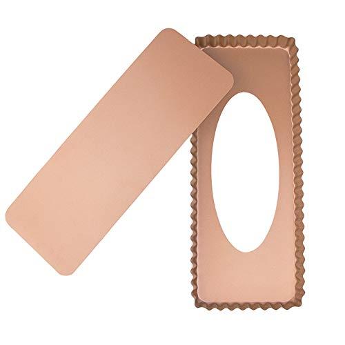 webake Stampo Crostata Quadrato con Fondo Removibile Antiaderente Torte da Forno Rettangolari Scanalate Teglia per Crostata 36,5 x15x 3cm - Oro