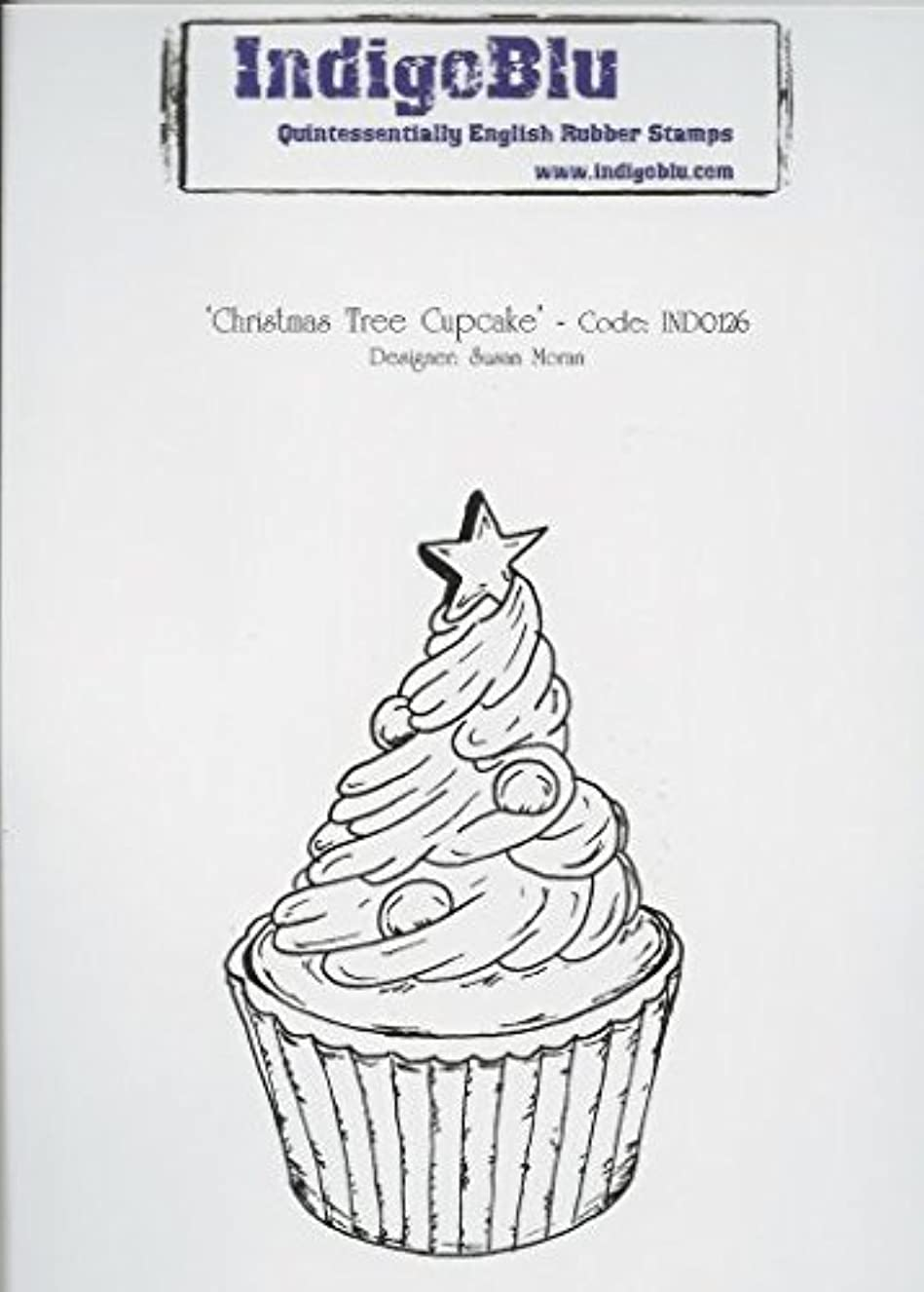 IndigoBlu Christmas Tree Cupcake A6 Cling Mounted Rubber Stamp IND0126 gcesdjerlk5379