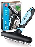 BluePet® para Perros de Pelo Largo, Gatos y Caballos - Cepillo para Perros/Cepillo para Gatos Que Elimina Nudos, pelajes y enredos + Masaje (Azul)