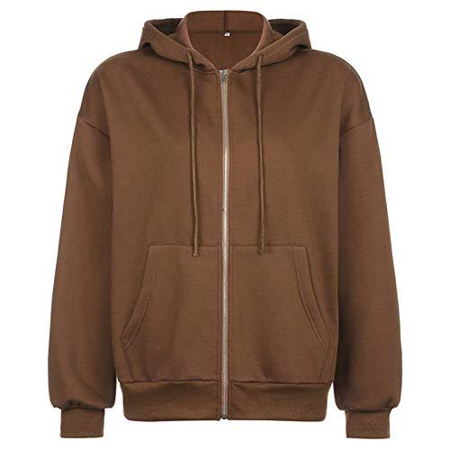 whitzard Damen Zip Hoodies Sweatshirts Einfarbig Strickjacke Hooded Langarm Jacke Oberbekleidung Tuniken Tops mit Taschen (Braun, M)
