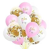 15PCS Party Globos de unicornio de confeti de oro rosa Globos de decoración de banquetes de...