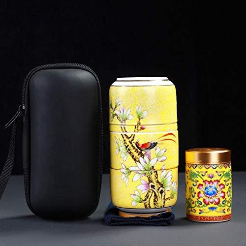 Juego de té de viaje Estuche de transporte Taza de paso rápido esmaltada 1 olla 2 tazas Juego de té de Kung Fu de cerámica para exteriores, amarillo