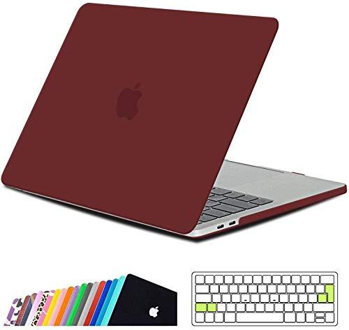 iNeseon Funda MacBook Pro 15, Carcasa Delgado Case Duro y Cubierta del Teclado para 2019 2018 2017 2016 MacBook Pro 15 Pulgadas con Touch Bar y Touch ID Modelo A1707/A1990, Rojo Rubí