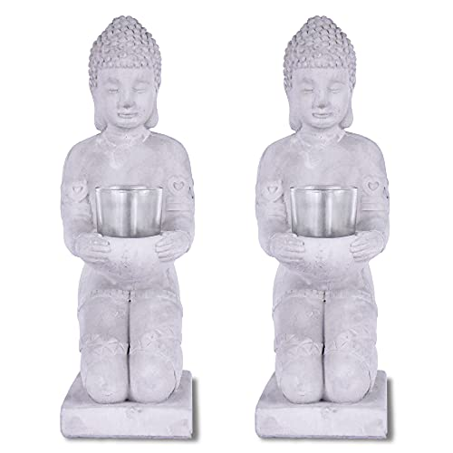 Kante SX20200176 Set of 2 Cement Composite Buddha Statues Tealight Candle Holders Ornament, Natural Concrete Indoor/Outdoor Tabletop Décor, 12.8' H, Gray