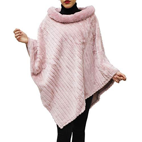Glamexx24 Damen Elegante Winter Pelz Poncho Rundhals Jacke Dicker Cape Warm aus Gestricktem Pelz
