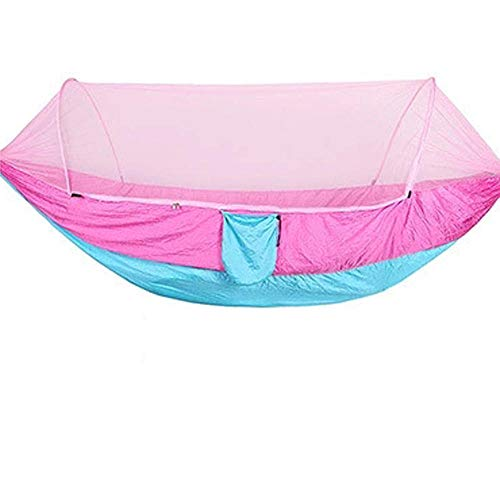 Multifunction Double Small Hammock with Storage Bag + Strap,300kg Load Capacity (290x140cm) Pink Garden Day Bed for Hiking Camping