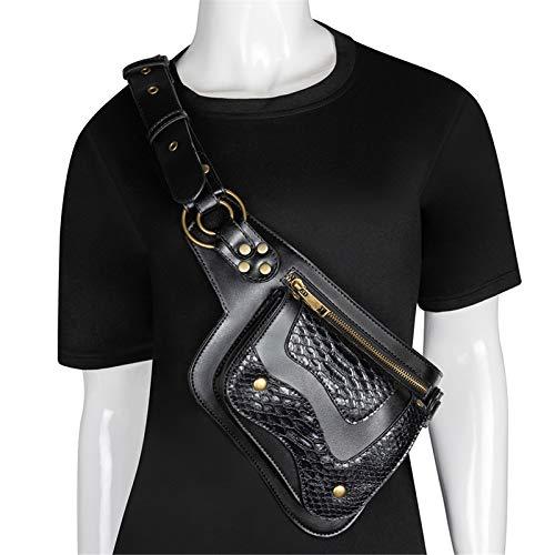 EVFIT Bolso de Brazo de la Pierna Bolso de la Cintura Steampunk Black Fanny Pack Fashion Gothic PU Cuero Multifunción Bolsas de Pierna (Color : Black1, Size : One Size)