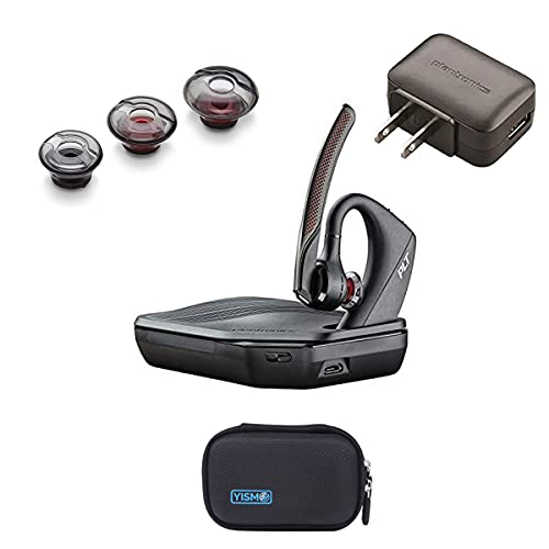 206110-01 Plantronics (Poly) 5200-UC Bluetooth Headset Bundle. Includes Headset, Charging case, Wall Plug, earpieces and Yismo Water-Resistant Carry case. PC, Mac, Android and Most Software.