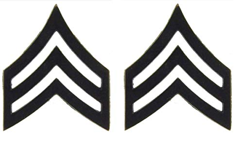 United States Army SGT E5 Insignia of Rank 1' Black Lapel Pins (Set of Two)