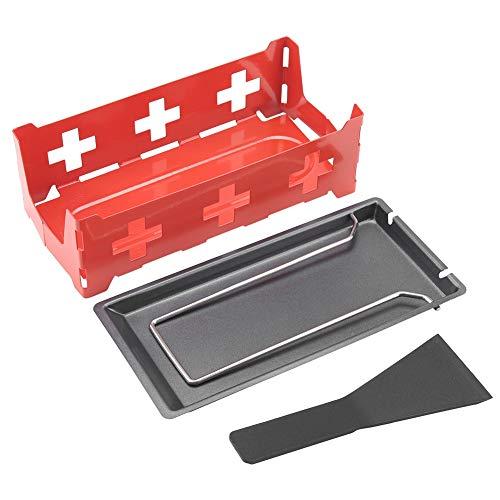 HERCHR Käse-Raclette-Schmelzgerät zum Grillen, Mini-Teelicht-Raclette-Set Tragbares Candlelight-Raclette mit faltbarem Griff(Rotes Set)