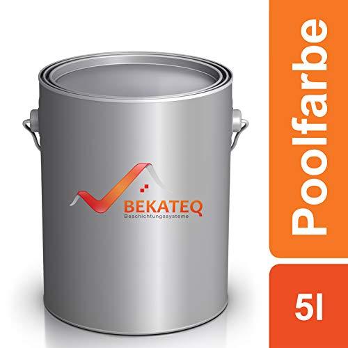 Bekateq Poolfarbe LS-400, blau 5l seidenglänzend, Schwimmbadfarbe Chlorkautschukfarbe für mineralische Untergründe wie Beton, Mauerwerk, Putz