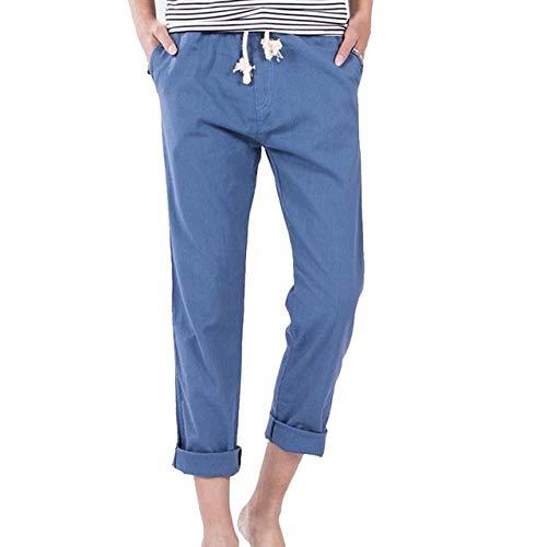 Loeay Pantalon en Lin en Coton de Couleur Unie pour Hommes Pantalon de cérémonie Été Décontracté Pantalon Droit Confortable Taille élastique Noir Pantalon Kaki Bleu L