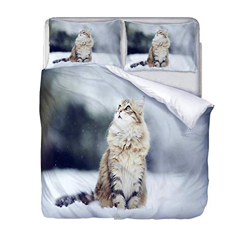 Duvet Cover Set Double-Zipper Closure with 2 Pillow covers Bedding Set Ultra Soft Hypoallergenic Microfiber Quilt Cover Sets Cat and snow
