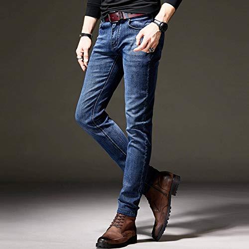 N-B Pantalones Vaqueros Casuales para Hombres Moda Juvenil Pantalones Delgados elásticos Simples Pantalones Delgados para Hombres