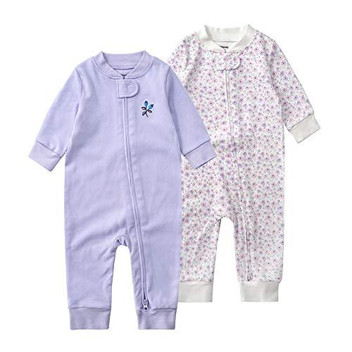 Baby Schlafstrampler Einteiliger Langarm Schlafanzug ohne Fuß 100% Bio-Baumwolle Baby Kleinkinder Schlafoverall Strampelanzug Pyjama 2er Pack Unisex für 0-24 Monate (Lila Blüten, 80cm)